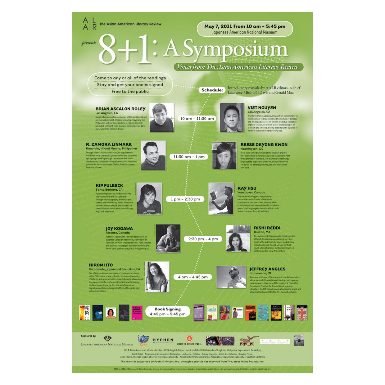 Poster for writers' symposium presented by The Asian American Literary Review, May 2011